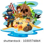 ocean scene with pirate and... | Shutterstock .eps vector #1030576864