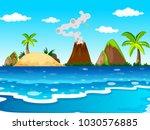 ocean scene with volcano and... | Shutterstock .eps vector #1030576885