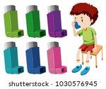 boy with asthma with different... | Shutterstock .eps vector #1030576945
