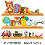 many cute toys on wooden... | Shutterstock .eps vector #1030576981