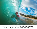body boarder surfing blue ocean ... | Shutterstock . vector #103058579