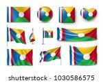 set reunion flags  banners ... | Shutterstock .eps vector #1030586575