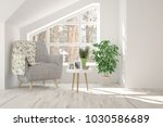 white room with armchair and... | Shutterstock . vector #1030586689