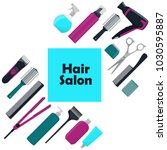 hair salon concept. tools and... | Shutterstock .eps vector #1030595887