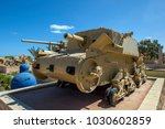 Small photo of EL ALAMEIN, EGYPT - MARCH 23, 2010 : An Italian Armoured Artillery M13/75 tank on display at the El Alamein War Museum in northern Egypt.
