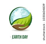 earth day concept. hand holding ... | Shutterstock .eps vector #1030604839