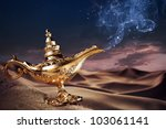 Aladdin Magic Lamp On A Desert...