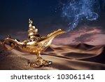 aladdin magic lamp on a desert... | Shutterstock . vector #103061141