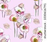 watercolor poppyand physalis... | Shutterstock . vector #1030616791