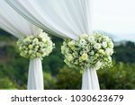 beautiful wedding set up.... | Shutterstock . vector #1030623679