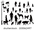 Stock vector people walking with dogs black and white vector illustration 103062497
