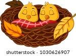 Stock vector cartoon baby bird sleeping in the nest 1030626907