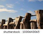 wooden fence on river walkway...   Shutterstock . vector #1030643065