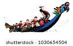 vector of dragon boat racing... | Shutterstock .eps vector #1030654504
