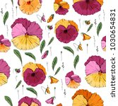 seamless pattern with violas.... | Shutterstock .eps vector #1030654831