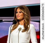 Small photo of Cleveland Ohio, USA, 18th July, 2016 Future First Lady Melania Trump addressses the Republican National Nominating Convention from the podium in the Quicken Sports Arena