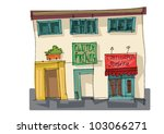 mexico city facade   cartoon | Shutterstock .eps vector #103066271