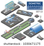 3d isometric airport and city... | Shutterstock .eps vector #1030671175