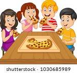 cartoon kids eating pizza... | Shutterstock .eps vector #1030685989
