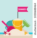 beach toys. flat vector | Shutterstock .eps vector #1030688464