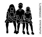 silhouette of children sitting | Shutterstock .eps vector #1030688671