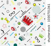 trendy seamless  memphis style... | Shutterstock .eps vector #1030701361