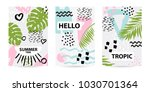 trendy tropic pattern covers... | Shutterstock .eps vector #1030701364