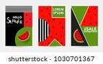 trendy memphis style watermelon ... | Shutterstock .eps vector #1030701367