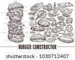hand drawn monochrome vector... | Shutterstock .eps vector #1030712407
