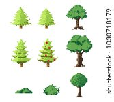 pixel art trees set.8 bit art... | Shutterstock .eps vector #1030718179