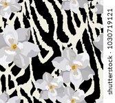 seamless pattern with zebra... | Shutterstock .eps vector #1030719121