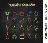 chalk style outline vegetable... | Shutterstock .eps vector #1030729405