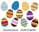 set of easter eggs icons on... | Shutterstock .eps vector #1030734094