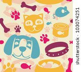 Stock vector bright seamless pattern with funny cat and dog vector illustration 103074251