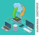 cloud computing technology... | Shutterstock .eps vector #1030745419
