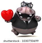 fun hippo   3d illustration | Shutterstock . vector #1030750699