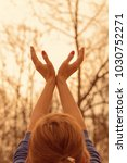 girl with hands in the air... | Shutterstock . vector #1030752271