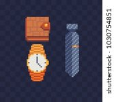 pixel art men's accessories... | Shutterstock .eps vector #1030754851