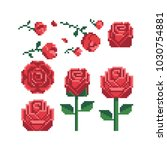 Pixel art 80s style beautiful flowers icons set red rose icon isolated vector illustration. Design for stickers, logo shop, embroidery, mobile app. 8-bit. | Shutterstock vector #1030754881