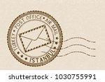 postal stamp  round brown... | Shutterstock . vector #1030755991