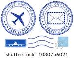 postmarks barcelona  spain.... | Shutterstock . vector #1030756021