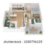 floor plan top view. apartment... | Shutterstock . vector #1030756135
