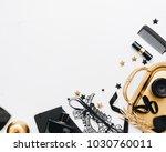 woman black fashion accessories ... | Shutterstock . vector #1030760011