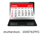 2018 year calendar. april... | Shutterstock . vector #1030762951