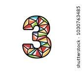 number three shiny logo design | Shutterstock .eps vector #1030763485
