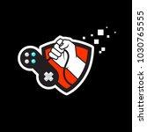 gaming logo joypad with shield... | Shutterstock .eps vector #1030765555