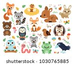 Stock vector  vector woodland animals character great for scrapbook cute and sweet animals 1030765885