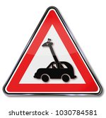 sign giraffe driving a car and... | Shutterstock . vector #1030784581