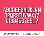 3d font alphabet with shadow.... | Shutterstock .eps vector #1030788574