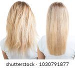blonde hair before and after... | Shutterstock . vector #1030791877